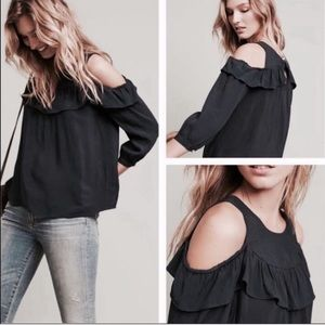 Anthropologie Maeve cold shoulder ruffle top